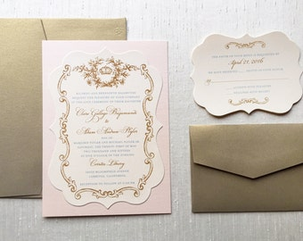 Royal French Wedding Invitation // Vintage Wedding Invitation