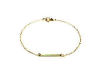 Tiny Gold ID Bracelet, Gold Bracelet, Minimalist Bracelet, ID