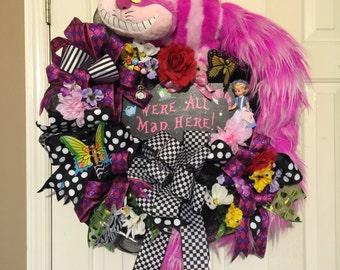 Alice in Wonderland and Cheshire Wreath