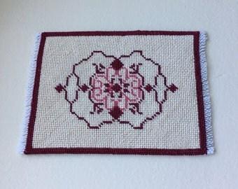Dollhouse Miniature Hand Embroidered Rug in Cream & Maroone  (BP)