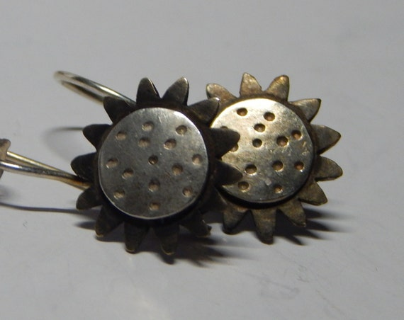 vintage sunflowers sterling silver and gold dangle earrings
