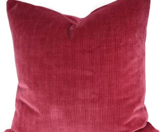 Red Velvet Throw Pillow Cover, Strawberry Red Striated Velvet Pillow Cover, 16x16, 18x18, 20x20, 12x20, Lumbar Pillow Cover