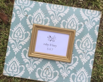 ikat design 5x7 distressed picture frame | modern frame | gallery wall | wall decor | hand painted gift | gift for her | home decor gift