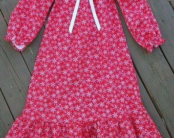 "Girls Red Snowflake Flannel Nightgown With Bow /  Boys Lounge Pants/ 18"" Doll Nightgown"