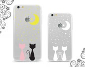 iPhone and Galaxy Soft TPU Phone Case Back Cover Protection Cats Lovers Moon Starry Nights  UV0327