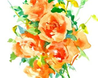 Orange Roses, Original watercolor painting, 12 x 9 in, orange garden flowers art