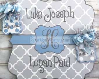 Twin Birth Announcement - Door Hanger - Personalized Polkadot Baby Announcement Sign For Hospital Door (Gray Sky, Light Blue)