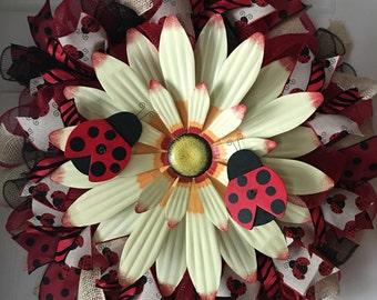 SALE...WAS 85.00/NOW 79.00...Ladybug Deco Mesh Wreath...Summer Wreath