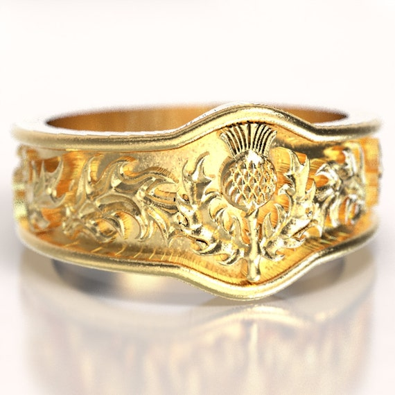 Scottish Gold Thistle Ring with Leaves in Eternity Wedding Ring Design in Gold or Palladium, 10K 14K 18K Made in Your Size CR-5043