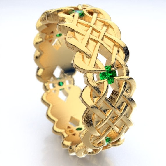 Gold Celtic Wedding Ring With Dara Knot Design & Emerald Stones in 10K 14K 18K or Palladium, Made in Your Size Cr-1043