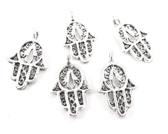 5 Filigree Mini Hand of Fatima Hamsa Charms - Type 2 Side Facing Loop - Matte Antique Silver Plated