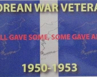 "Korean War Veteran with Ribbon 4"" x 7"" Bumper Sticker 2-Stickers Per Order"