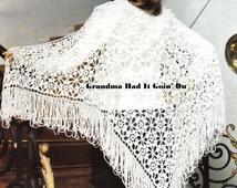 Crochet Lacy Flower Shawl PATTERN - Vintage Shoulder Sweater 70s Retro long Fringe Wrap Vintage Pattern PDF Instant Download Digital Pattern