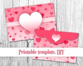 Pink heart envelope Valentine envelope template 4x6 Envelopes Printable envelope DIY paper Pink envelope Digital download
