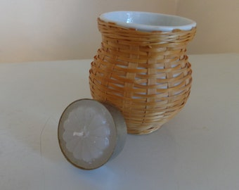 Vintage Wicker Ceramic Votive Candleholder 1970 S Wicker Tea Light Holder Vintage Candleholders Wicker Home Decor