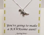 Pregnancy Announcement For New Aunt Funny Sterling Silver T-rex Necklace
