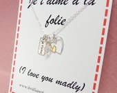 Je t'aime a la folie I love you madly in French romantic gift necklace