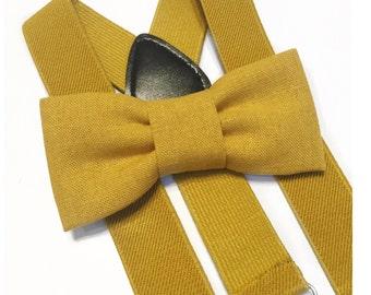 mustard bow tie & suspender set,suspenders,baby suspenders,cake smash,suspender set,bow tie,toddler suspender,wedding,mustard yellow,mustard