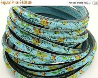 "50% OFF Half Round Blue Floral Leather Cord - 8"" - 10x5MM Cord"