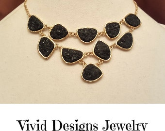 Black Layered Druzy Stone Statement Necklace - Druzy Stone Bib Statement Necklace