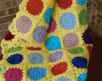 yellow Crochet afghan sofa throw, soft handmade throw, circles in square, yellow granny square, multi color throw, Ready to ship