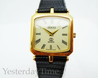 Gucci 1980's Swiss 7 Jewel Gold Plated Gents Quartz Watch New Old Stock Never Worn