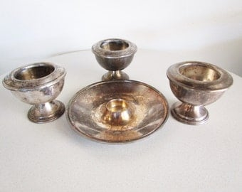 Silver Plated Offering Tray Cup Ciborium Communion Three Sovereigns International Silver Co 7 Pieces Vintage RARE