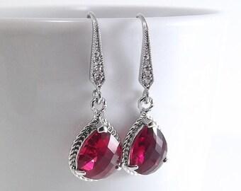 SALE Fuchsia Glass Pendant Silver Teardrop Earrings