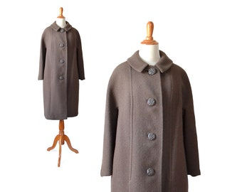 Brown Coat, Wool Coat, Brown Wool Coat, 1950s Coat, 50s Coat, 1960s Coat, 60s Coat Brown Vintage Coat, Brown Womens Coat