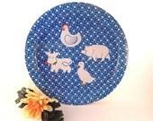 "Blue and White Metal Tray Whimsical Farm Animals 13"" Round Serving Tray Vintage 1970's Farmhouse Kitchen Home Decor"