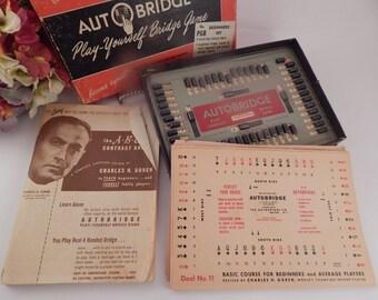 Auto Bridge Beginners Game Set Vintage 1950 Charles H Goren Four Handed Bridge Learn to Play Mid-Century Entertaining