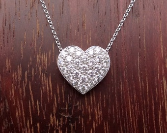 Heart Shape Pave Diamond Pendant Natural White Diamonds 18k White Gold Necklace with 18K Chain Included