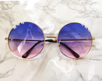 Oversized Round Sunglasses Ombre Hippie Circle Glasses - Janis