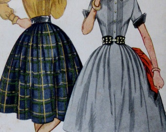 Vintage 1960s   Simplicity Teen Age Girls  One Piece Dress Button Front Full Skirt Pattern #4096 Size 10 ** Epsteam