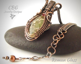 Roman Glass Wire Wrapped Necklace Copper