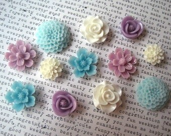 Cute Fridge Magnets, 12 pc Flower Magnets, Purple, Aqua and Ivory Magnets, Housewarming Gifts, Hostess Gifts, Wedding Favors