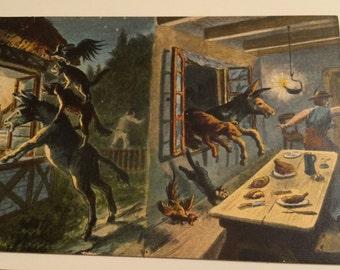Set of 3 Town Musicians of Bremen German postcards, Die Bremer Stadtmusikanten, fairy tales
