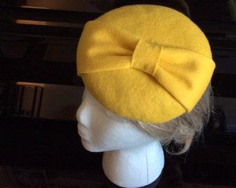 100% Merino Wool Fascinator Hat - Yellow Bow hat, pillbox hat, round wool fascinator