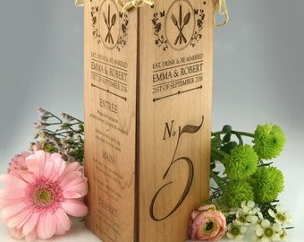 10 x Engraved Wooden Wedding Menu Table Number Centrepiece