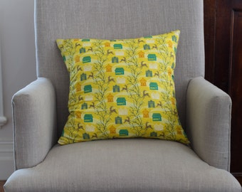 Anna Maria Horner, Little Folks, VOILE, Forest Hills Citrus 45cm square cushion cover/pillow with EST French linen backing