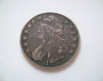 1827 50C Square Base Bust Capped US American Silver Half Dollar Antique Coin Old Money Nice Antique for the Collector Makes a Wonderful Gift