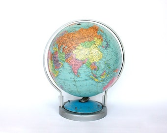 Vintage World Globe - Vintage Globe - Mid Century Globe Decor - Earth Globe - Desk Globe -Replogle Globe - Welch Scientific Tellurian Globe