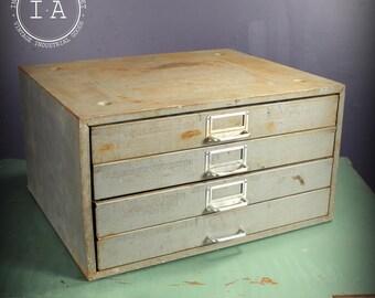 Vintage Industrial 4 Drawer Steel Parts Cabinet