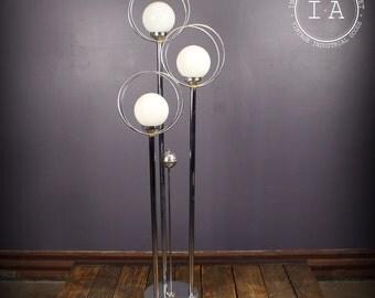 Vintage Mid Century Modern Chrome Floor Lamp Orb Shades