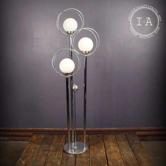 Mid Century Orb Lamp: Vintage Mid Century Modern Chrome Floor Lamp Orb Shades