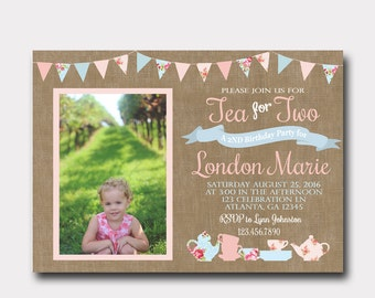 Shabby Chic Tea for Two Birthday Invitation with Photo