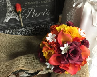 Wedding Bouquet Orange Yellow Burgundy Fall Bridal Bouquet Set, Orange Bouquet, Orange Rose Bouquet, Yellow Rustic Wedding Bouquet