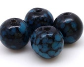 10 Vintage Blue Black Round Japan Glass Beads 12mm