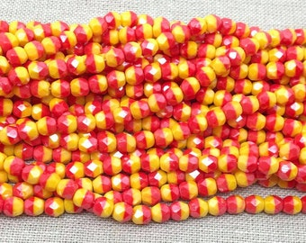 50 Yellow Red Two Tone Czech Faceted Glass Beads