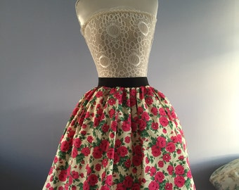 Ladies or girls 1950's inspired floral rose skater style skirt